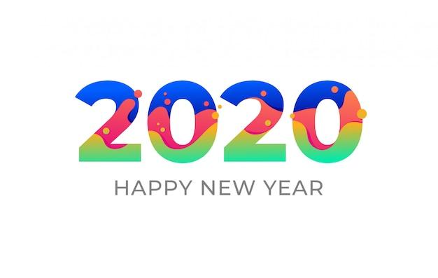 Flüssige flüssige form der bunten farbigen zahlen des neuen jahres 2020