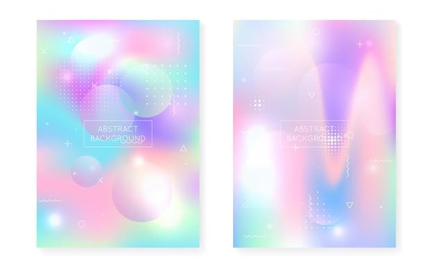Flüssige flüssigkeit. retro fluoreszierende elemente. wissenschaft punkte. runde grafik. blaues lichtmuster. minimalistische textur. hipster-hintergrund. bewegungs-flyer. lila flüssige flüssigkeit