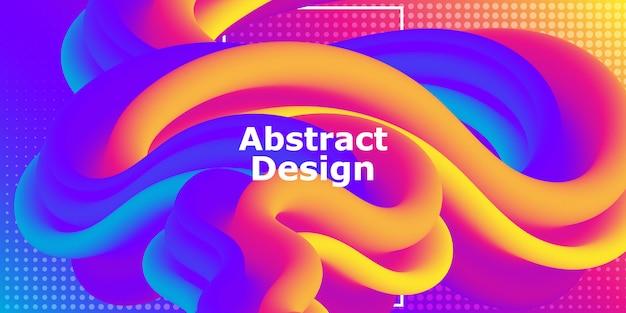 Flüssige form. abstrakter fluss. trendiges plakat. bunter futuristischer farbverlauf. geometrischer hintergrund. flüssiges banner.