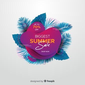 Flüssige formen des sommerschlussverkaufs und tropischer blatthintergrund