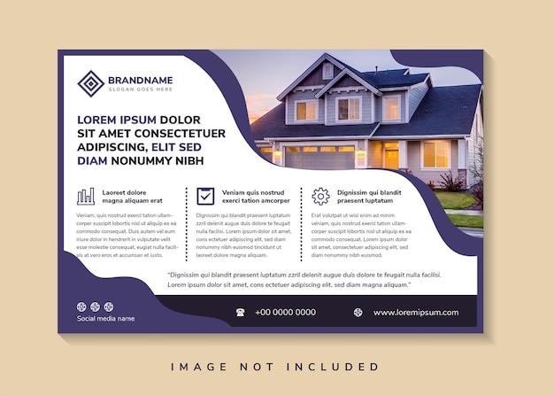 Flüssige horizontale flyer-vorlage mit überschrift dummy-text horizontales layout mit platz für foto
