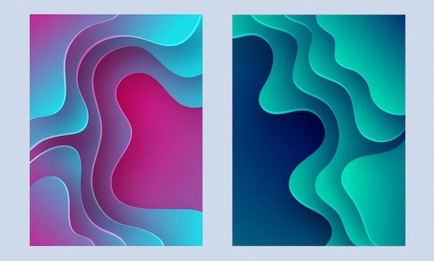 Flüssige kunstdruckpapierschicht schnitt abstrakte plakatsammlung.