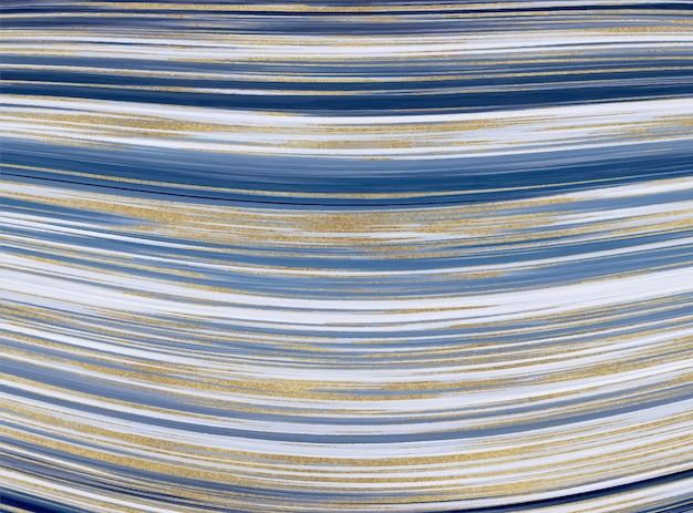 Flüssige marmorstruktur. abstrakter hintergrund der blauen und goldenen glitzertintenmalerei