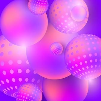 Flüssige mehrfarbige kugeln extrahieren zusammensetzung 3d auf einem purpurroten hintergrund.