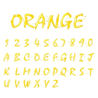 Flüssige orange alphabete und zahlensammlung auf weißem hintergrund