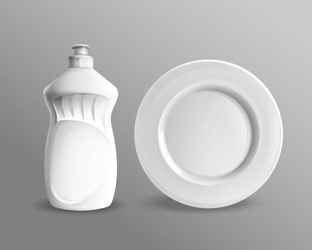 Flüssige plastikflasche des geschirrspülens mit keramischem kreisplattenmodell