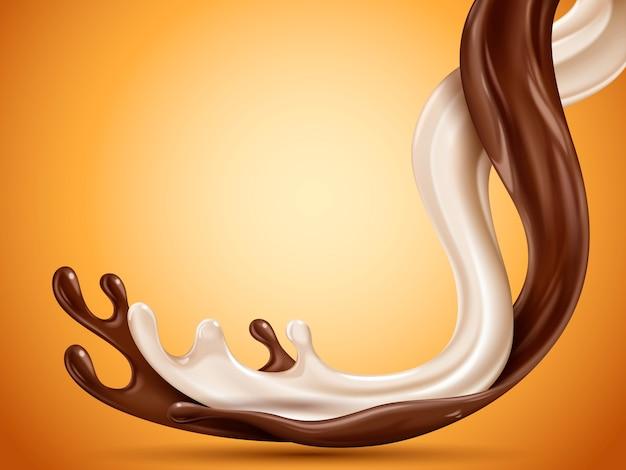 Flüssige schokolade und milch fließen gemischt, orange hintergrund, illustration