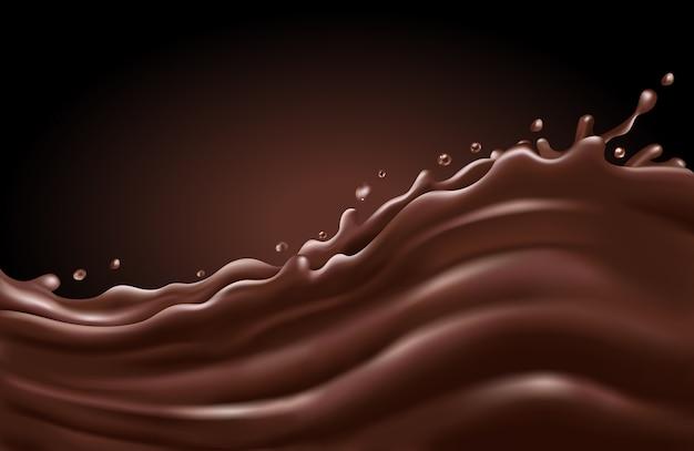 Flüssige schokoladenspritzwelle auf einem dunklen hintergrund