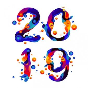Flüssige und flüssige bunte funken-typografie des neuen jahres 2019
