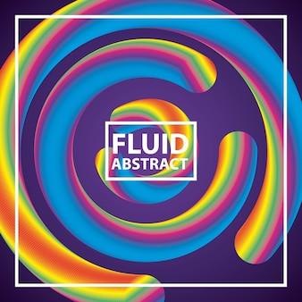 Flüssiger abstrakter hintergrund färbt neonspiralekreise
