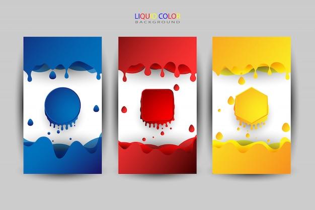 Flüssiger farbsatz, verschiedene farben als hintergrund