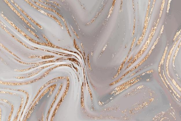 Flüssiger goldbrauner marmorleinwand abstrakter malereihintergrund mit goldspritzer und streifenbeschaffenheit...