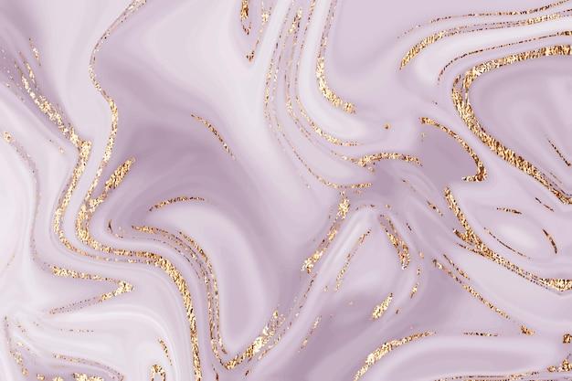 Flüssiger goldener rosafarbener violetter marmorleinwand abstrakter malereihintergrund mit goldspritzer und streifen te ...