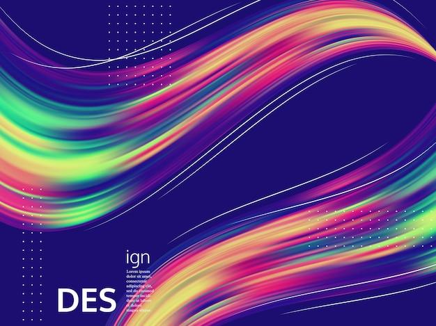 Flüssiger hintergrund der trendigen abstrakten welle. zusammensetzung der flüssigen formen 3d, minimales design des farbflusses.