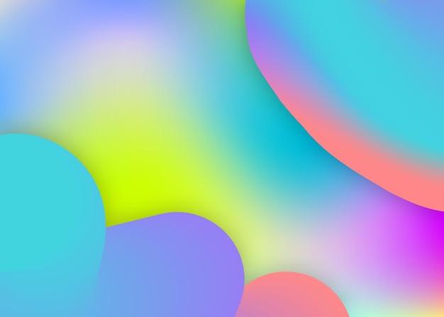 Flüssiger hintergrund. holographische 3d-kulisse mit moderner trendiger mischung. lebendiges verlaufsgitter. molekulare präsentation, kartenrahmen. flüssiger hintergrund mit flüssigen dynamischen elementen und formen.