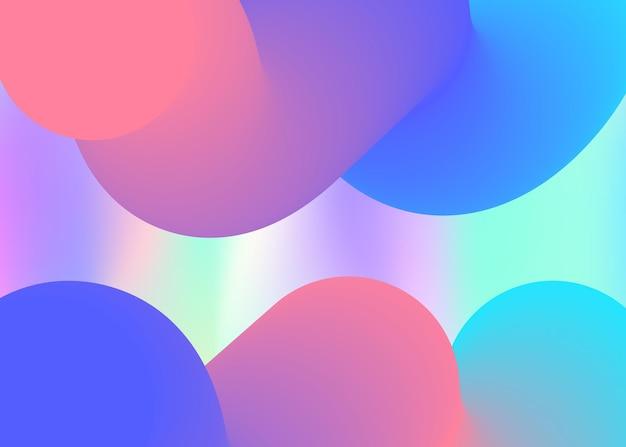 Flüssiger hintergrund. lebendiges verlaufsgitter. holographische 3d-kulisse mit moderner trendiger mischung. magische präsentation, bannerrahmen. flüssiger hintergrund mit flüssigen dynamischen elementen und formen.