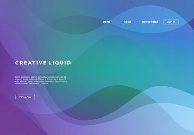 Flüssiger hintergrund mit abstrakten wellen und steigungsfarben