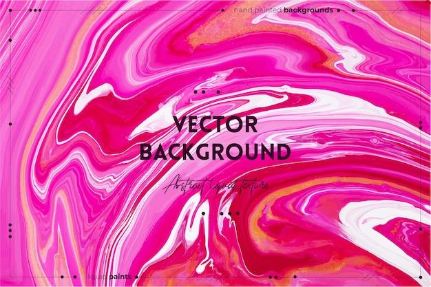 Flüssiger kunsttexturhintergrund mit abstraktem irisierendem farbeffekt flüssiger acrylgrafik mit fließenden und spritzten mischfarben für hintergrund oder poster goldene weiße und rosa überlaufende farben