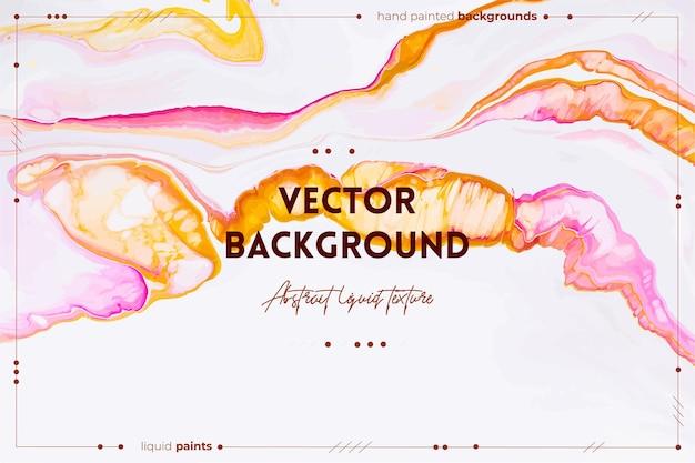 Flüssiger kunsttexturhintergrund mit abstraktem, wirbelndem farbeffekt, flüssigem acrylbild, das gemischte farben für innenplakate in rosa, weißen und orangefarbenen überfließenden farben fließt und spritzt