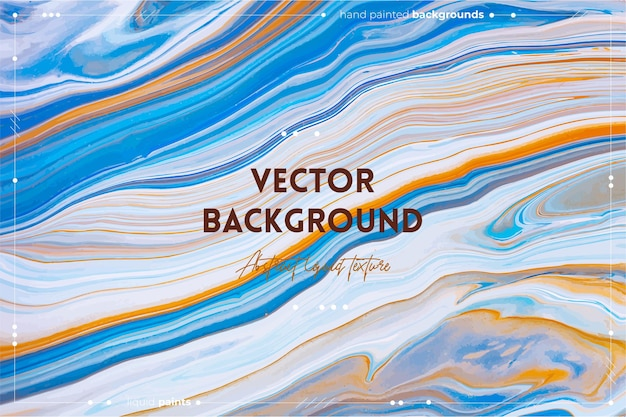 Flüssiger kunsttexturhintergrund mit abstraktem, wirbelndem farbeffekt, flüssigem acrylbild mit fließenden und spritzten mischfarben für baner oder tapeten blau-orange und weiß überlaufende farben