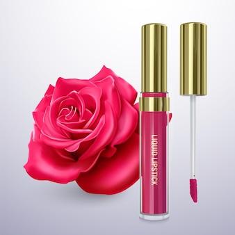Flüssiger lippenstift in leuchtend rosa farbe