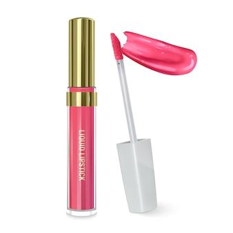Flüssiger lippenstift, lipgloss in eleganter flasche, geschlossener behälter mit pinsel und lippenstiftabstrich