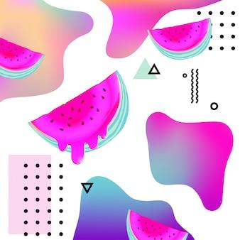 Flüssiger mehrfarbiger hintergrund mit wassermelone