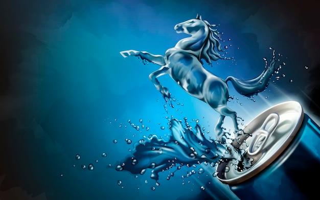 Flüssiges pferd sprang aus der dose mit spritzenden getränken in 3d-darstellung, blaues hintergrundgestaltungselement
