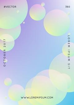 Flüssiges poster mit runden formen. farbverlaufskreise auf holografischem hintergrund. moderne hipster-vorlage für plakate, cover, banner, flyer, präsentationen, jährlich. minimales flüssiges poster in neonfarben.
