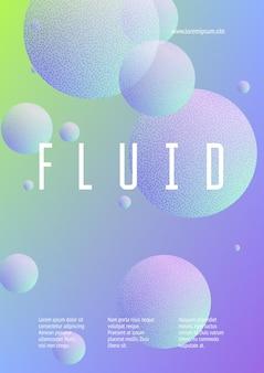 Flüssiges poster mit runden formen und rasterpunktstruktur. farbverlaufskreise auf holografischem hintergrund. moderne vorlage für cover, banner, flyer, präsentationen. minimales flüssiges poster in neonfarben.