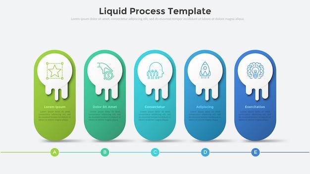 Flüssiges prozessdiagramm oder zeitachse mit fünf abgerundeten elementen, die in einer horizontalen reihe angeordnet sind. moderne infografik-design-vorlage. konzept von 5 schritten des strategischen geschäftsplans. vektor-illustration.
