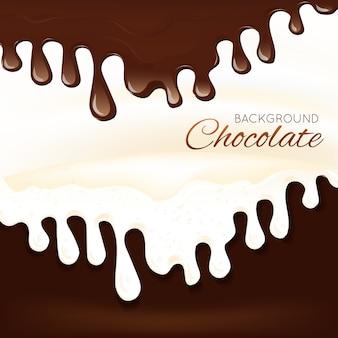 Flüssiges schokoladenspritzen des bonbonsachtischs tropft hintergrundvektorillustration