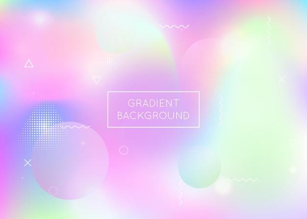 Flüssigkeit formt hintergrund mit dynamischer flüssigkeit. holographischer bauhaus-gradient mit memphis-elementen. grafikvorlage für broschüre, banner, wallpaper, handy-bildschirm. perlglanzflüssigkeit formt hintergrund.