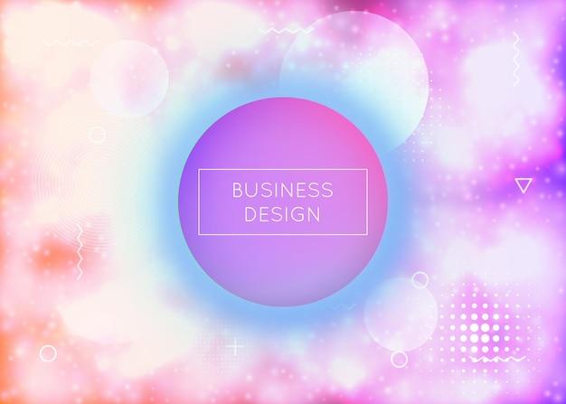 Flüssigkeit formt hintergrund mit dynamischer flüssigkeit. neon-bauhaus-farbverlauf mit lila leuchtender abdeckung. grafikvorlage für flyer, benutzeroberfläche, magazin, poster, banner und app. retro flüssige formen hintergrund.
