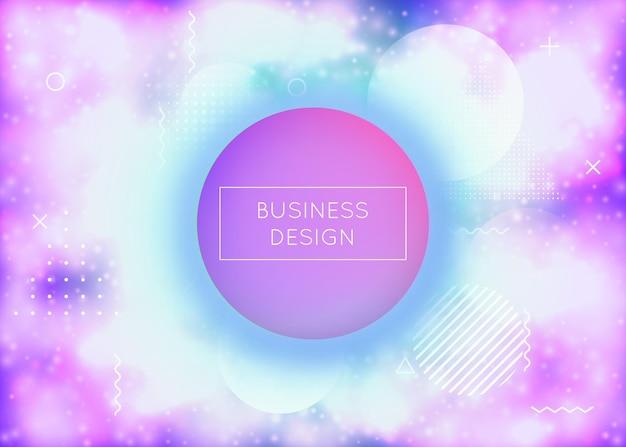 Flüssigkeit formt hintergrund mit flüssigem dynamischem farbverlauf. neon-bauhaus-abdeckung mit fluoreszierendem lila. grafikvorlage für plakat, präsentation, banner, broschüre. blendende flüssigkeit formt hintergrund.