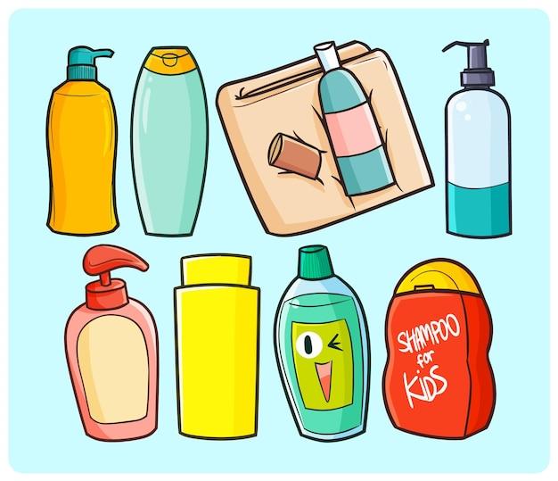 Flüssigseifen und shampoo-kollektion im einfachen doodle-stil