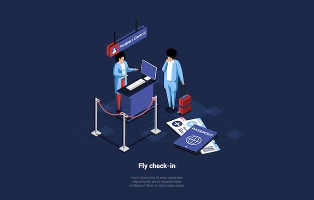 Flug check in illustration auf dunkelblau