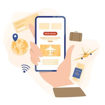 Flug online buchen konzept. idee von reisen und tourismus. reise online planen. ticket im flugzeug in der app kaufen. illustration