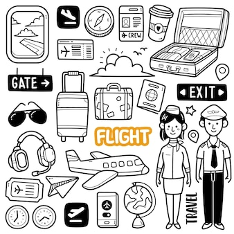 Flug schwarz-weiß-doodle-illustration