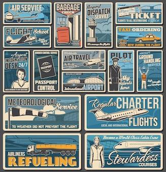 Flug- und flughafendienste, flugreisebanner