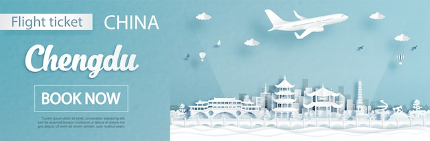 Flug- und ticketwerbevorlage mit reise nach chengdu, china-konzept und berühmten wahrzeichen im papierschnittstil
