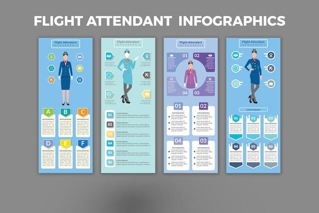 Flugbegleiter infografik vorlagendesign
