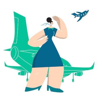 Flugbegleiterin, die am flugzeug steht und das flugzeug am himmel betrachtet.