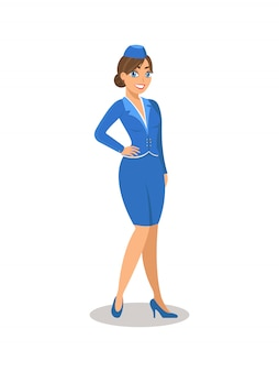 Flugbegleiterin in blauer uniform.