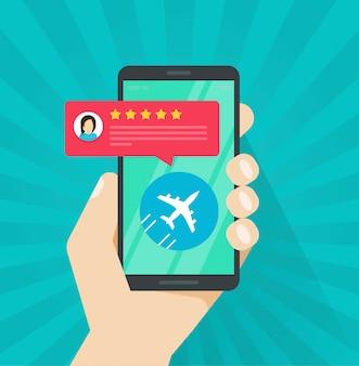 Flugbewertung oder feedback online vom mobiltelefon oder mobiltelefon