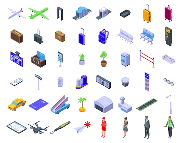 Fluggesellschaften eingestellt. isometrischer satz von fluggesellschaften für webdesign lokalisiert auf weißem hintergrund