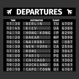 Flughafen abfahrtstafel