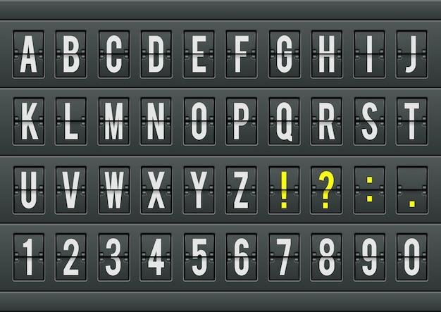Flughafen ankunftstabelle alphabet mit zeichen und zahlen für abflüge, ankünfte, uhren, countdowns. illustration.