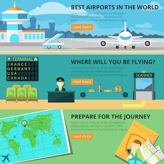 Flughafen-banner-set
