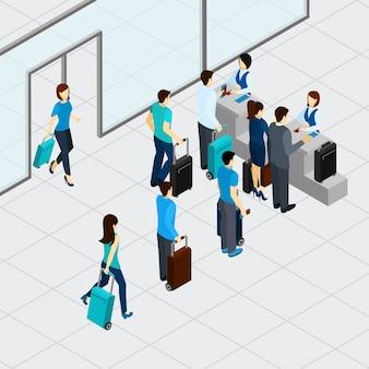 Flughafen check-in-linie